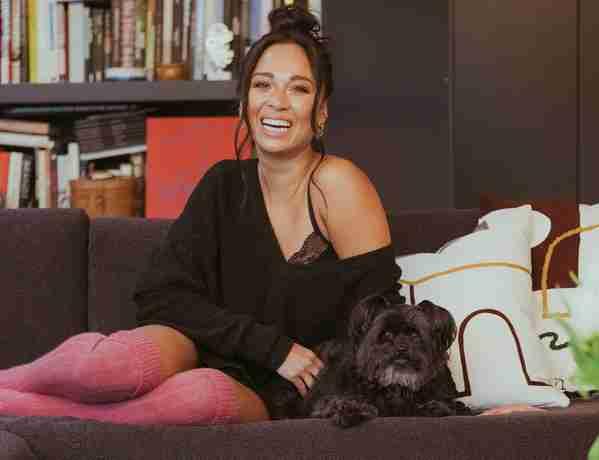 Katya Jones and her dog Crumble